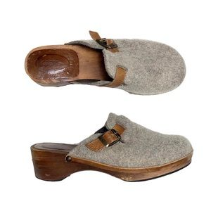 J. Crew Felt and Wooden Clogs Slip On Shoes